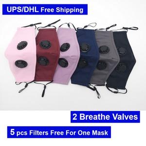 5 PCS PM2.5 Filter Free For Kaufen One Cotton Maske DHL Kostenloser Versand Design Designer Masken-Maskerade Mit Atmen Vavle