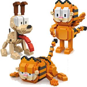 9757 개 9758 LOZ MIRCO 블록 가와이이 영화 만화 고양이 개 동물 오디 가필드 플라스틱 빌딩 블록 교육 장난감 피규어