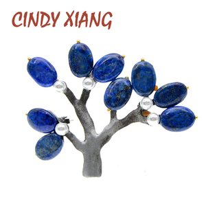 CINDY XIANG Natural Stone Vintage Tree Brooches For Women Fashion Elegant Large Brooch Pin Beautiful Retro Tree 5 Colors