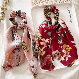 Foulard cheveux Vintage Floral femmes Hairband Chouchous Bow Hair Bands Ruban de fleur Accessoires cheveux Bandeau filles 4 Designs
