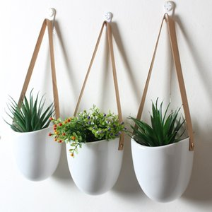Set of 3 Ceramic Hanging Planters Succulent Air Plants Flower Pots with Leather Strap Wall Hanging Wall Decoration Flowerpot Y200709