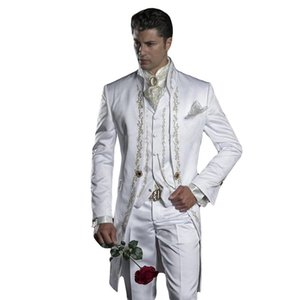 2020 Embroidery Groom Tuxedos Men's Suits White Groomsman One Button Formal Wedding Suit (Jacket+Pants+Vest) Three Pieces Suit