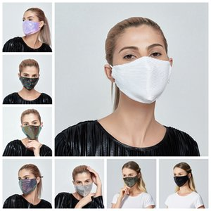 Bling Bling Sequin Face Mask Outdoor Suncreen Anti Dust Breathable Washable Face Mask Reusable Facial Protective Mouth Cover LJJP138