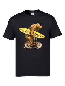 Aşınmış Out Kaliforniya Surfer Bear Döngüsü T Gömlek Kaykay Biker Ayı Komik Tişörtler Homme Siyah Beyaz Casual 3D T Gömlek Pamuk