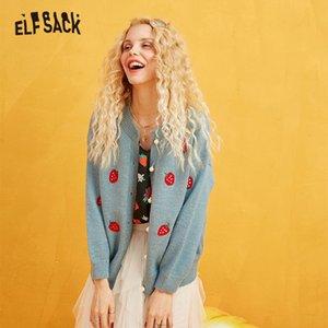 ELFSACK Stickerei Erdbeere Perle Knopf-beiläufige Strickjacke, Frauen Herbst Langarm-goldene Seide süße koreanische Strickjacke Y200720