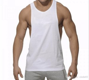 Mens Tank Tops Summer Breathable Pure Color Cotton T-shirts Strong Men Gym Sports Running Wear