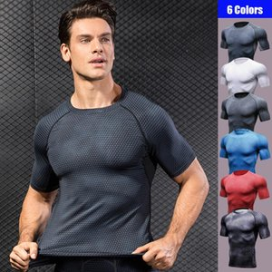 3D Print Men Sports Yoga Shirt Quick Dry High Elastic Round Collar Short Sleeve Tight Plus Size Man Workout Fitness Exercise Top