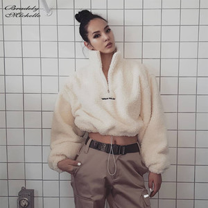 Top Curto Casual Bradely Michelle Mulheres Outono-Inverno Streetwear Moletons recortada Hoodie Oversized Hoodies T200729