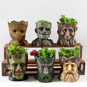 Resin Flower Pots For Garden Planters Creative Cartoon Statue & Animal Desktop Bonsai Pots Succulent Plant Pot Flowerpot Y200709