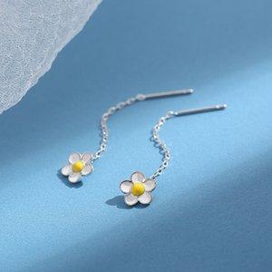 925 Sterling Silver Short Earrings 2019 New Fashion All-match Temperament Sweet Fresh Flower Tassel Earrings