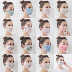 Mulheres Chiffon Impresso Sunscreen Máscara Máscara de Verão ao ar livre Ciclismo mulheres Poeira Anti-fog Sun Sombra Veil XD23688 respirável Anti-ultravioleta