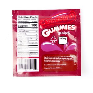 Cannaburst Gummies Sours Mylar Bag 500Megebilibles vuoto cerniera sacchetto di archiviazione al dettaglio Imballaggio Due colori