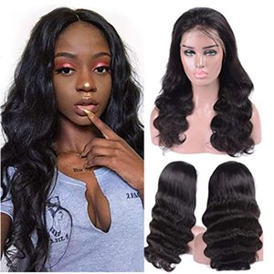 18INCH Lace Front Human Hair Wigs for Women Pre Plucked Hairline Denisty Brazilian Body Wave Lace Front Wigs with Baby Hair Natural Color