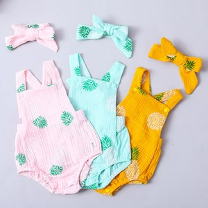 bunvel Newborn Infant Baby Girls Boys Clothes Leaf Pattern Jumpsuit Jumpers Outfit Set Sleeveless Romper+Headband Costume Set