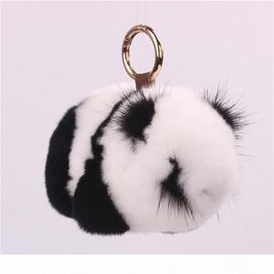 Fur Panda Keychain Mink Panda Jewelry Plush Fur Bag Pendant Hanging Luxury Keychain Pom Pom Keychains Gifts for Men