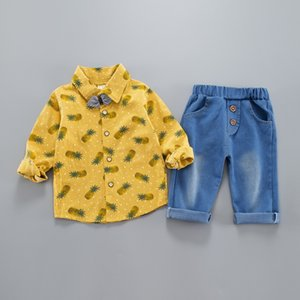 Spring 2020 new Korean children's clothing set, cotton shirts, boys and girls' suits, two sets of children