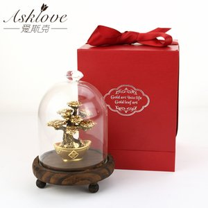 Feng Shui Fortune tree Gold Foil Money Tree Bonsai Office Tabletop Lucky Wealth Ornaments Gifts Home Decoration with Gifts box T200710