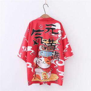 Japanese Kimono Fashion Maneki Neko Jackets Cardigan Yukata Outerwear Fortune Cat Haori Coats Casual Overcoats
