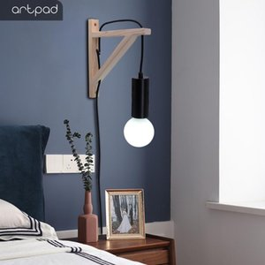 Artpad Home Wall Light Fixture Japan Style Wood Triangle Wall Light Holder with Plug and switch for Study Bedside Living room