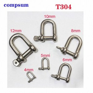 T304 Stainless Steel Screw Pin D Shackle wire rope lock chain connecting buckle 1wBo#