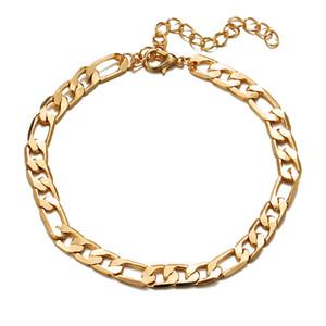 2020 El nuevo oro 18K Cadena Figaro pulsera de moda pulsera tobillera euro americano de la Mujer y joyería de los hombres precio de fábrica