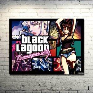 블랙 라군 Revy 두 손 애니메이션 예술 실크 포스터 13x18 24x32 인치 현대 홈 거실 장식 015 인쇄하기