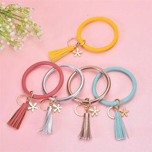 Flower Key Chains Fashion Bangles Bracelets Key Rings Jewelry Bag Charm Holder Tassel Pendant Wristlet Girls PU Leather Bracelet for Women