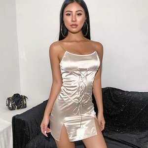 Summer Spaghetti Strap Satin Dress Bandage Bodycon Mini Ladies Dresses Elegant Backless Sexy Dress Split Side Club