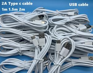 DHL 200pcs genuino USB estrenar 2A Tipo C Cable 1 M 1,5 M 2 M 3 pies 5 pies 6 pies de carga rápida por cable Cable de datos para el teléfono Android