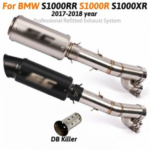 Motorcycle Exhaust Muffler System Middle Pipe Parts Motorbike Exhaust with db killer For S1000RR S1000R S1000XR 2018 2017 sO3V#