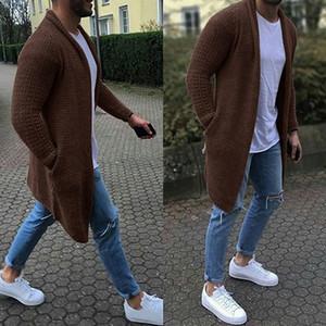 2020 Casual Bahar Erkekler Hırkalar Streetwear Erkek Katı Slim Fit Triko Palto Erkek İnce Uzun Kollu Örgü Kazak Triko MX200711