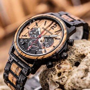 DODO DEER Homens Madeira relógio cronógrafo Calendário Stop Watch em madeira de Luxo de aço inoxidável Relógios de pulso erkek kuvars saatler C04