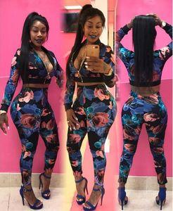 Frauen 2pcs dünne Klagen Kleidung Mode Marke Druck-Frauen Blumen Tracksuits Kurze Jacken langärmelige Hosen-Sport-Set M-2XL