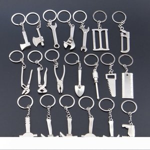 Creative Mini Tools Keychain axe wrench screwdriver hammer ruler shovel 20 styles alloy home garden tools key rings