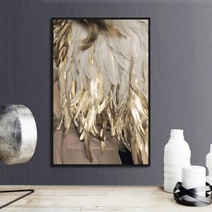 Nordic Feather Gold Color Lamp Canvas Oil Painting Modern Posters & Prints Wall Art Picture for Living Room Bedroom Home Decoration