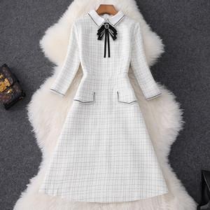 2020 Падение 3/4 рукава нагрудные крем для шеи шотландки печати Tweed ленты Tie Bow Щитовые колен платье Элегантные повседневные платья MQ3087456