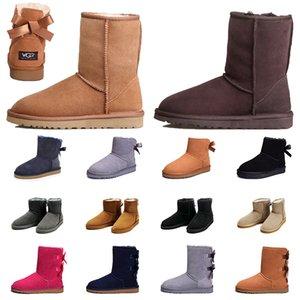 zapatos ugg Venta al por mayor de piel de cuero gilrs mujeres botas de diseñador de moda mantener cálido invierno nieve botines botines vintage australiano plataforma botas