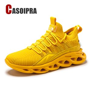 Large Size 39-46 Sneakers Men Breathable Running Shoes Damping Outdoor Sports Shoes Yellow Green Casual Walking Jogging
