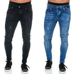 Mens Pencil Pants Fashion Solid Color Stretch High Waist Male Jeans Casual Biker Mens Jeans Slim