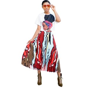 Women Summer Dress Skirt Summer Fashion Women's Pleated Skirt Digital Print Skirt Factory Direct