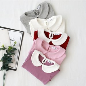 Toddler Girl Clothes Solid Girls Shirts Turndown Collar Children Tops Long Sleeve Kids Tees Boutique Kids Clothing 5 Color DW4809