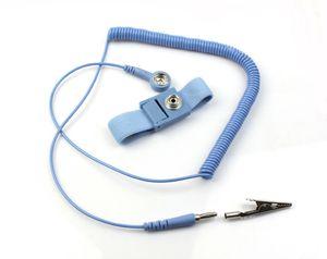 NEW مكافحة ساكنة مكافحة ساكنة ESD مكافحة ساكنة قابل للتعديل رباط المعصم الفرقة الأرضية كهرباء حزام الأزرق MQ100