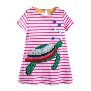 Cute Infant Baby Girls Short Sleeve Princess Dress Summer Cotton Cartoon Striped Dress Sundress Toddler Clothing DBD098
