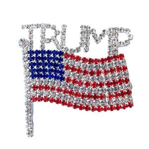 Trump Брошь Pin Алмазный флаг Брошь Rhinestone Письмо Trump броши Кристалл Знак фрак Одежда Ювелирные изделия Модные аксессуары GGA3593
