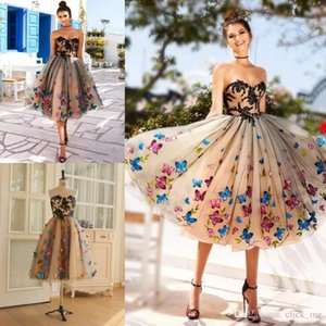 Evening dress ball dress colorful butterfly sweetheart lace cocktail party dress