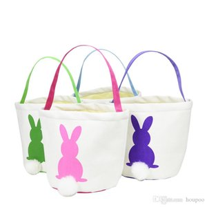 4 Colors 2019 New Easter Rabbit Basket Easter Bunny Bags Rabbit Printed Canvas Tote Bag Egg Candies Baskets
