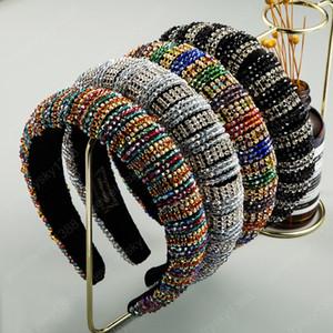 Completa del multicolor de cristal grueso esponja Cinta de cabeza de la mujer de lujo Rhinestone colorido Paded pelo del aro de novia de la boda tocados