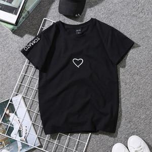 Women Love Heart Letter Print T Shirts Paar-Geliebte Stickerei-Hemd für Mädchen beiläufige bequeme weiche kurze weiße Spitzen Hemden