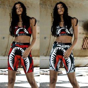 2020 Women Two Piece Swimsuit Shark Brand Swimwear Swim Bra + Bike Shorts Trunks Designer Swimming Tracksuit Quick-Dry Beachwear C61711