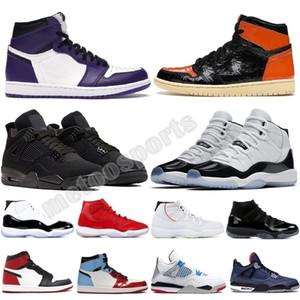 Lo nuevo mejor venta TS prohibidos 1 11 13s Jumpman Pedernales Bred real del dedo del pie zapatos de Hare Corte púrpura Espacio zapatillas de deporte para mujer Trainer niños de baloncesto del Mens